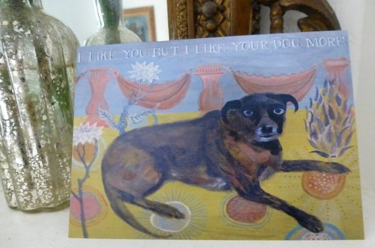 I Like You But funny greeting card folk art quality card by raphaelbalme on Etsy