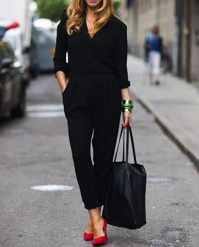 all black + red pumps