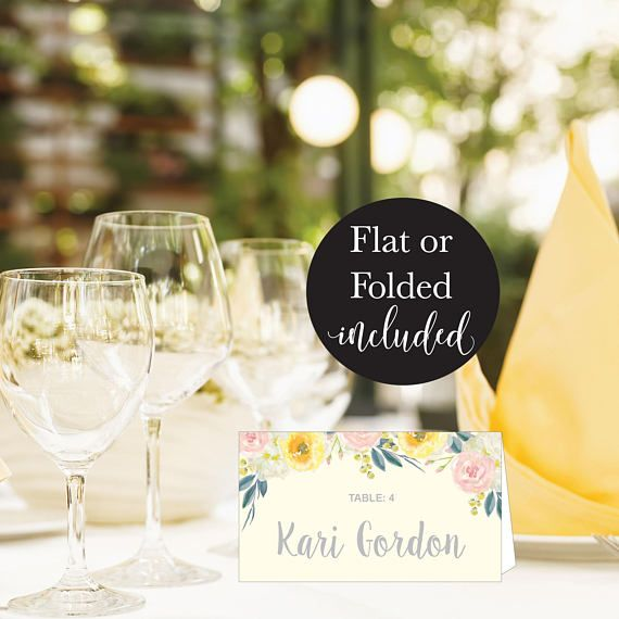 Yellow Floral Wedding Place Card Template Modern Spring