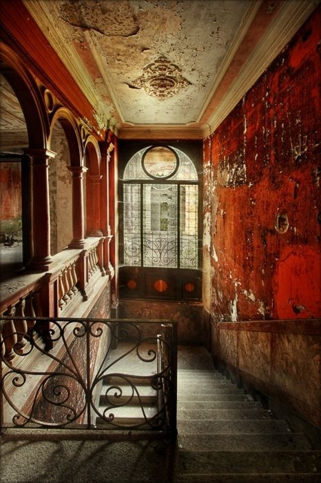 decay.: Stairs, Hallways, Window, Red Wall, Colors, Places, Peel Paintings, Wrought Irons, Stairways