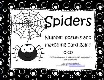 FREE - Spiders posters 0-10 and matching card game 0-10. Use for Fall, Halloween or ANY time - no spooky stuff - all in b/w.