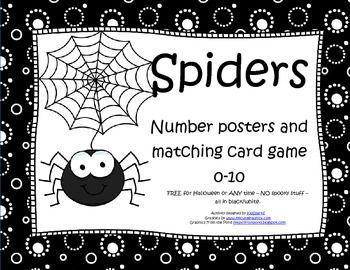 KOSTENLOS – Spinnen Poster 0-10 und passendes Kartenspiel 0-10. Verwenden Sie für den Herbst, Halloween …