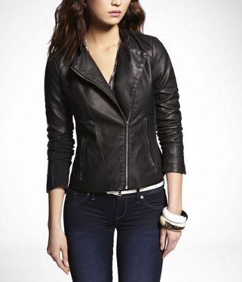 LEATHER CLEAN SEAM ASYMMETRICAL JACKET at Express