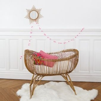 Baby rattan bed lit bébé en rotin 50' chambre enfant kids