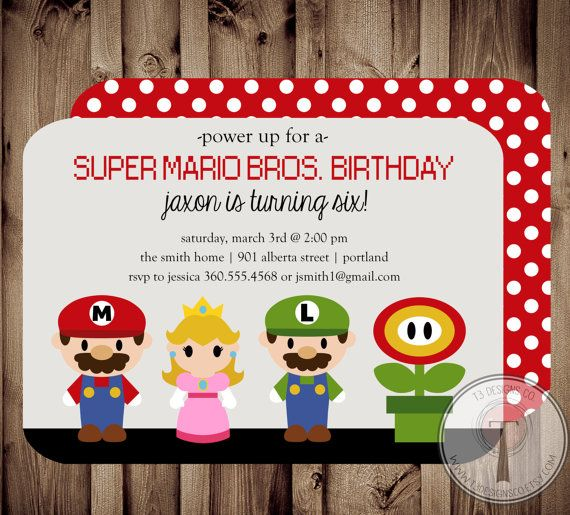 17 Best images about mario – Super Mario Bros Party Invitations