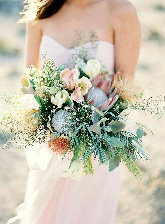 Oversized Wedding Bouquet With Neutral Pastel Ingredients: King Protea, Pin Cushion Protea, Standard Tulips, Parrot Tulips, Multiple Varieties Of Greenery + Foliage