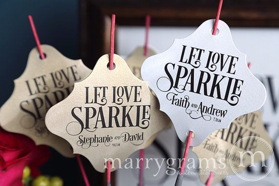 Sparkler Tags - Let Love Sparkle - Wedding Favor Tags Script Custom with Names and Date - Sparklers (Set of 24) SS06