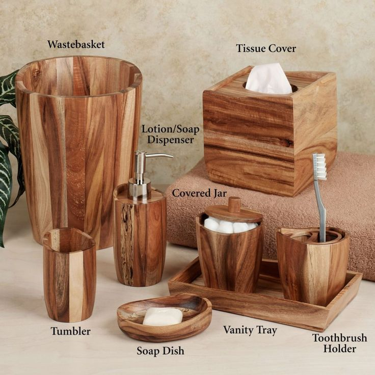 Wooden Bathroom Accessory Sets