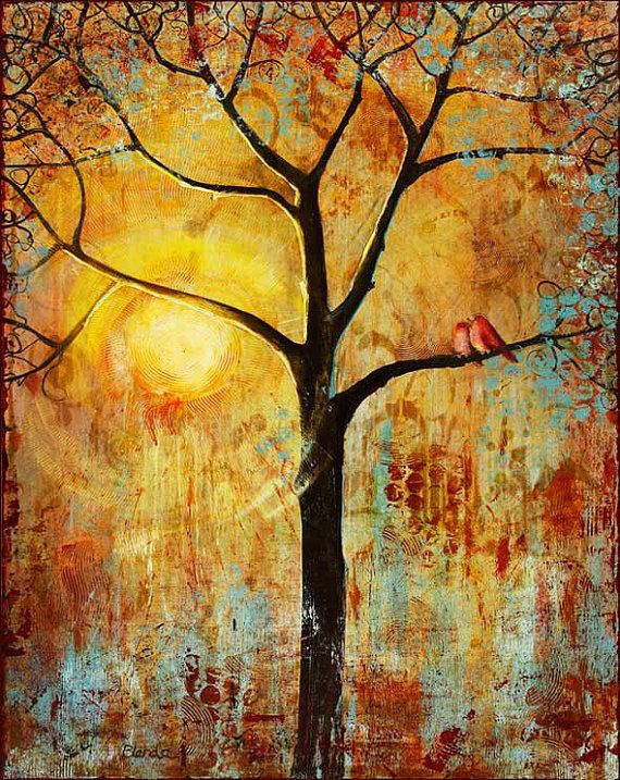 Birds Tree Print, Art, Large 13X19 Wall Decor, Sunset, Love Birds, Poster