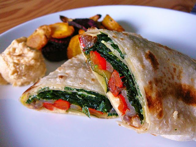 Roasted Vegetable Wrap with Oven-Fried Spinach and Caramelized Onion Hummus