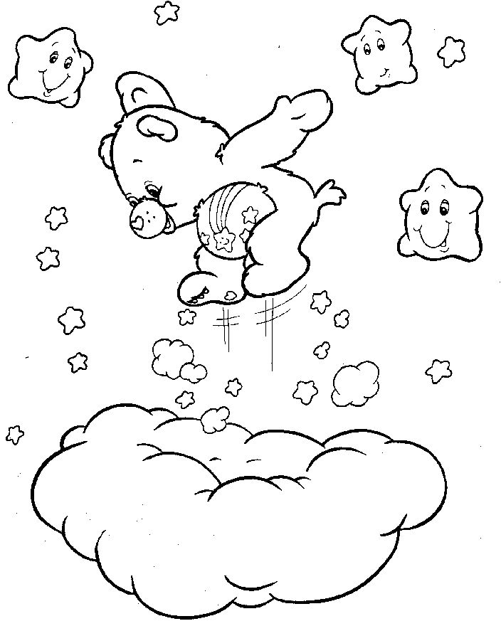 Care Bears Jump Above The Clouds Coloring Pages For Kids Printable