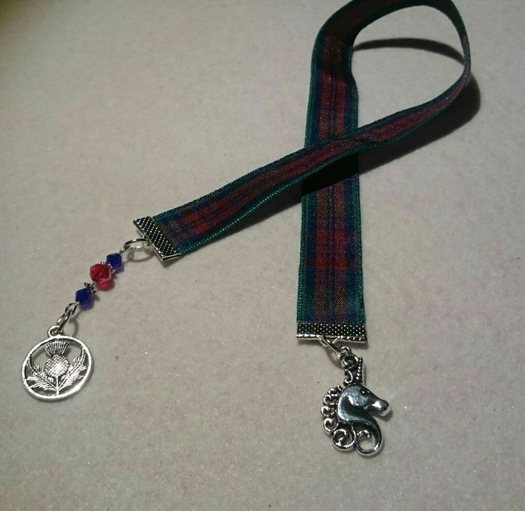 First of my Scottish themed bookmarks unicorn and thistle on tartan ribbon