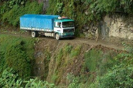 Bolivia.  Truck on the 'Bolivian Road of Death'.  Read more about this dangerous road, see more photographs.  Click on in....