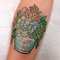 watercolor succulents tattoo