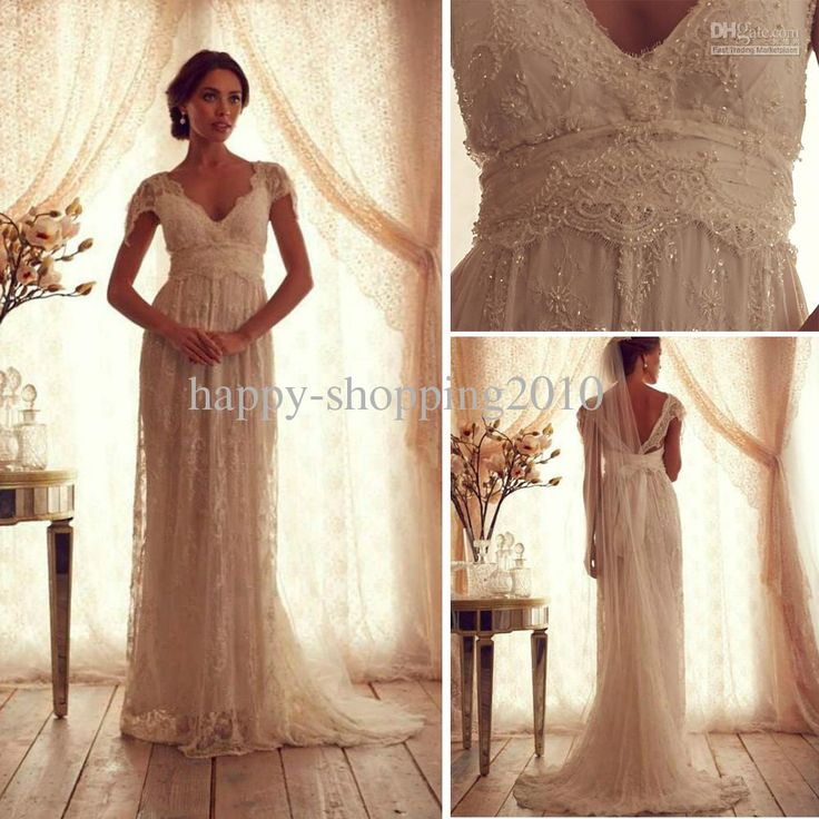 Lace pearl wedding dress empire waist lace bodice sheer for Empire waist tulle wedding dress