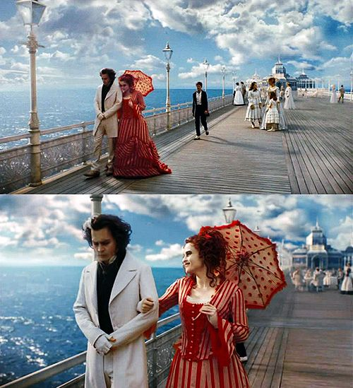 Stills from Tim Burton's Sweeney Todd. Costumes designed by Colleen Atwood.