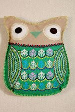 Green Felt Owl Cushion