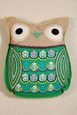 Green Felt Owl Cushion