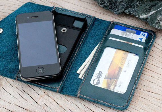 Letter teal leather iphone wallet with case by SakatanLeather, $69.00