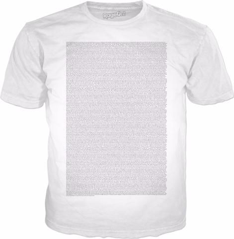 RageOn! - World's Largest All-Over-Print Online Store! Entire Bee movie script shirt