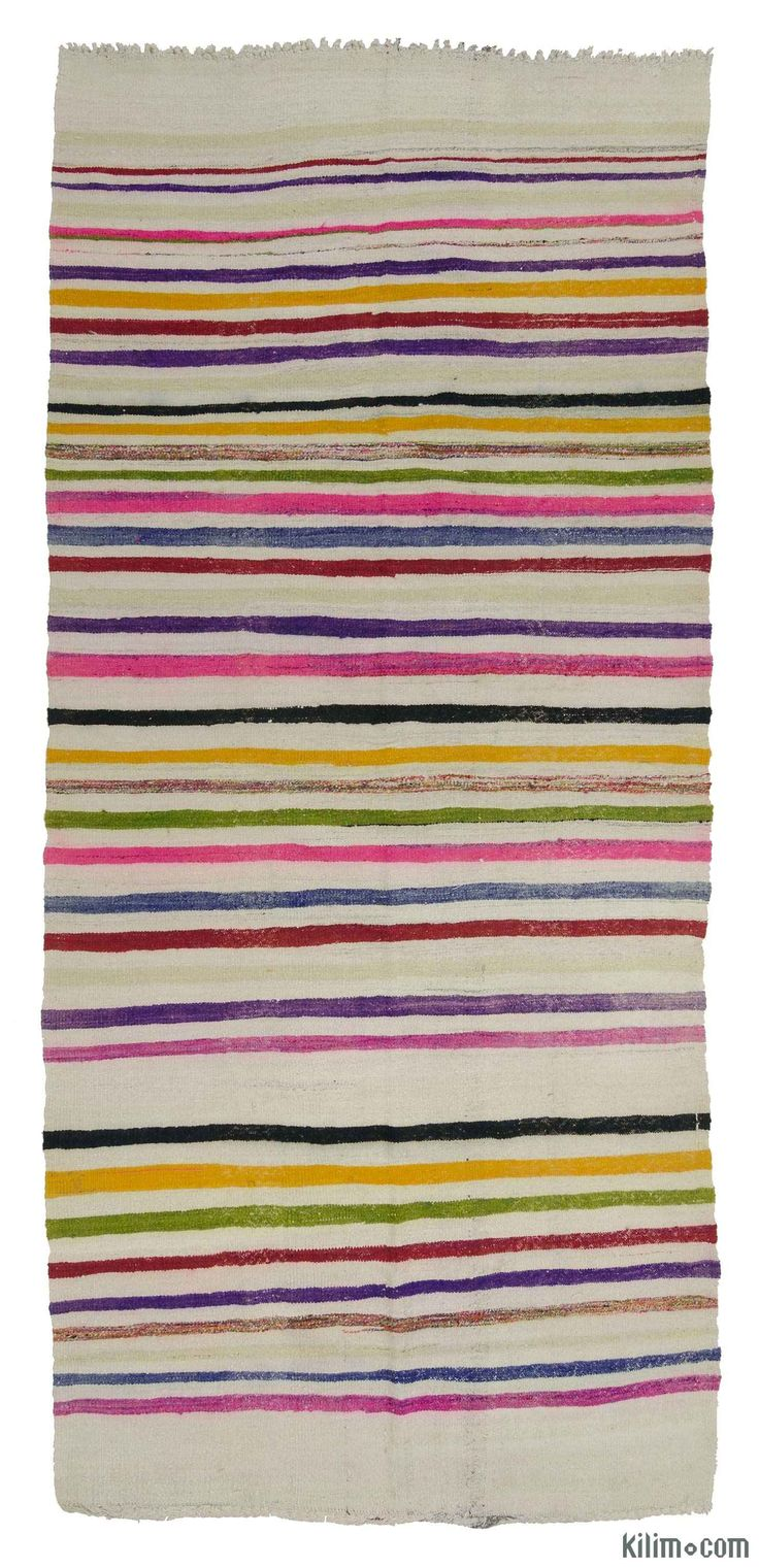 Vintage Turkish kilim rug hand-woven in 1960's. This rug with colorful stripes is in very good condition.