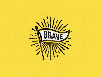 Brave by Abraham Lule - flag, wave, sunburst, tyography, penant, white, black, yellow, illustration, drawn