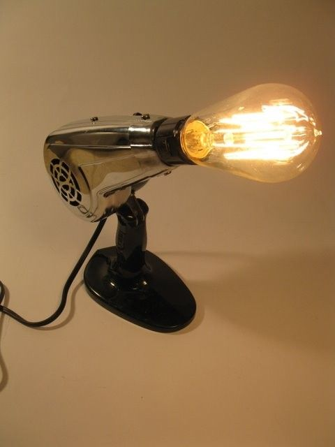 Vintage blow dryer upcycled into lamp for home or salon. $125.00, via Etsy.