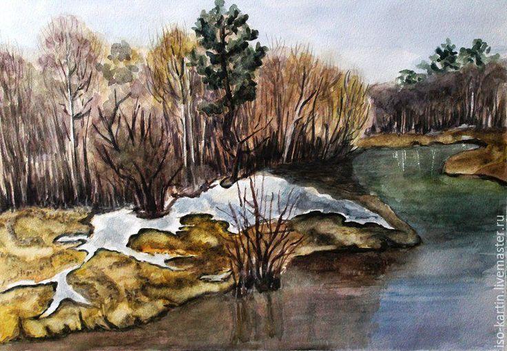 """Купить Авторская картина """"Весенние воды"""" - оливковый, весна, весенний пейзаж, еще в полях белеет снег"""