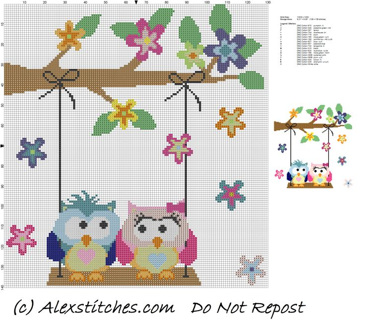 owls in love on swing cross stitch pattern