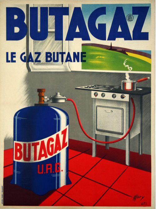 Affiche Butagaz - Le Gaz Butane - France - 1946 - illustration de Mory -