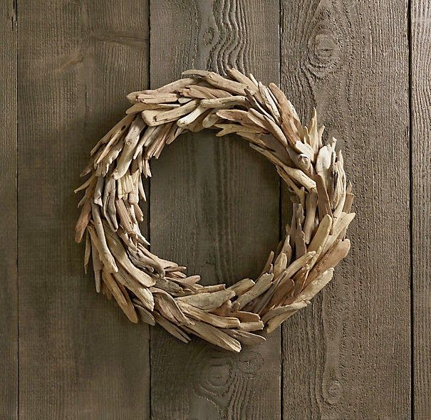 A simple project, this diy driftwood wreath is an inexpensive knock-off of the Restoration Hardware version.