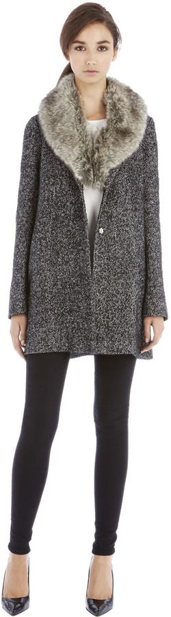 Warehouse Tweed Faux Fur Collar Coat on shopstyle.co.uk
