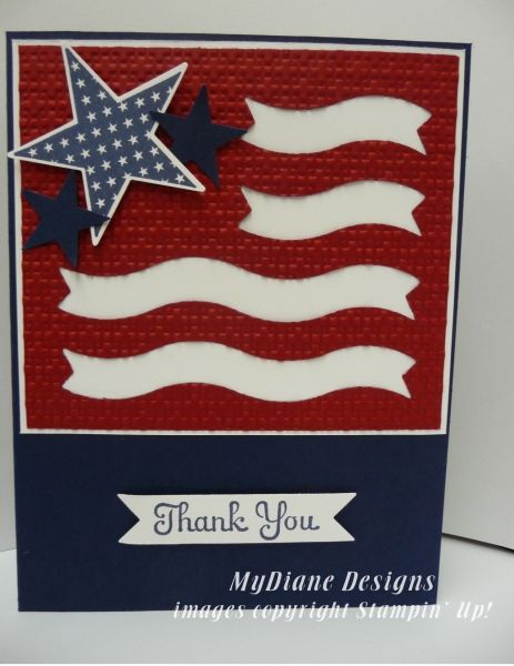 Patriotic Banner by Diane Malcor ~ Cards and Paper Crafts at Splitcoaststampers ~ Stamp sets: Best of Greetings, July Fourth ~ Paper: Night of Navy, Cherry Cobbler, Whisper White ~ Ink: Night of Navy ~ Accessories: Bitty Banners Framelits, Big Shot, Square Lattice TIEF, Large Star Punch, Small Star Punch, dimensionals, glue dots
