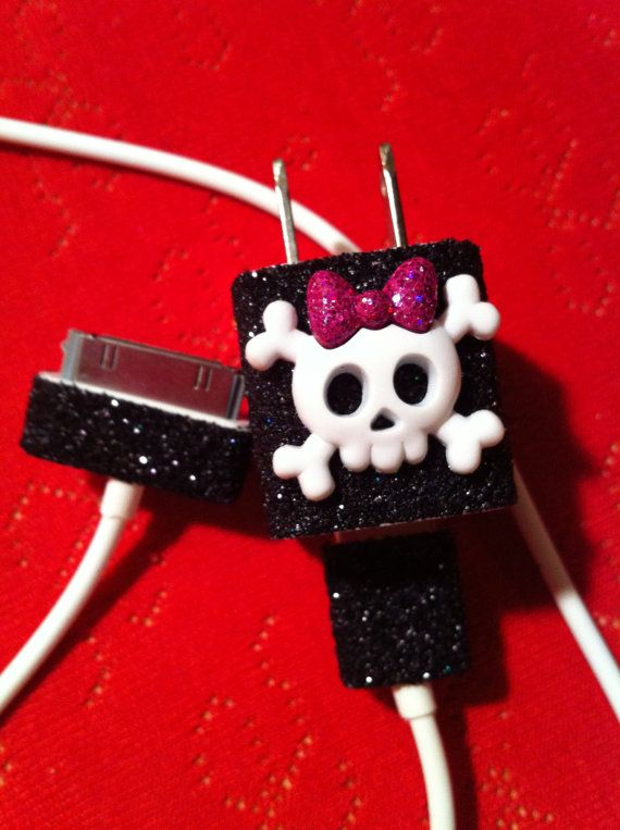 iPhone Charger (customized glitter charger with skull) via Etsy