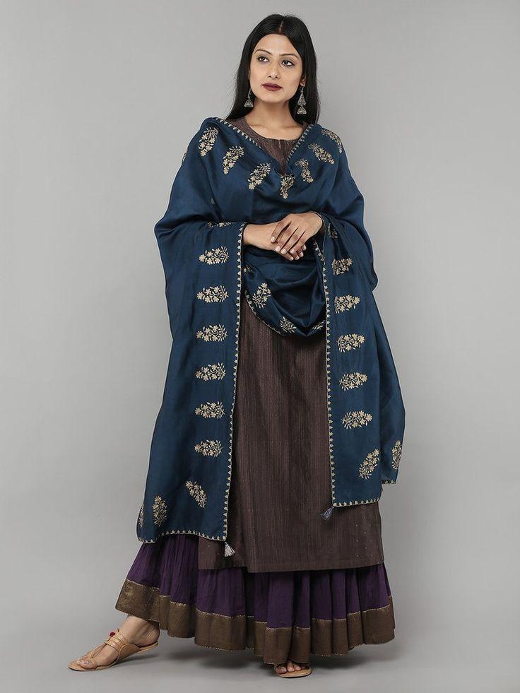 Blue Chanderi Hand Embroidered Dupatta