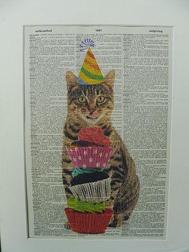 Cat Wall Art Print No.21 tabby cat cat poster by DecorisDesigns