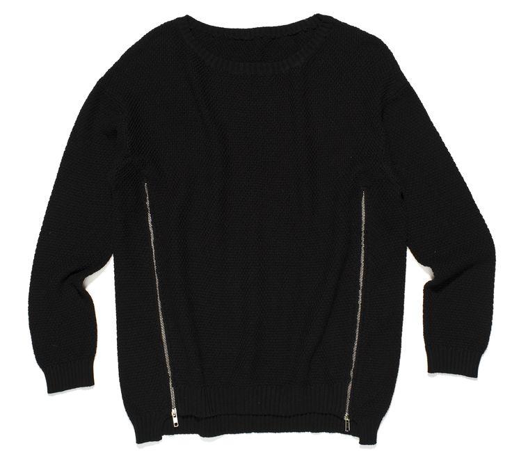ft-87, czarny gładki sweter z zamkami po bokach