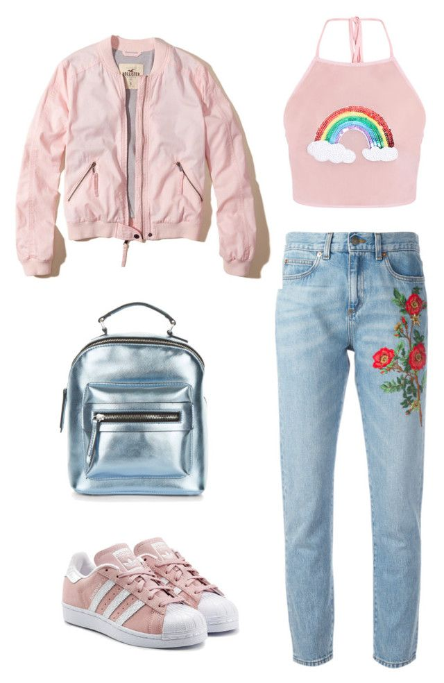 merve 3 by ilaydaozer on Polyvore featuring moda, Hollister Co., Gucci, adidas Originals and New Look