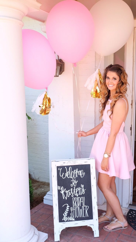 Bridal shower chalkboard. Pink and gold wedding.