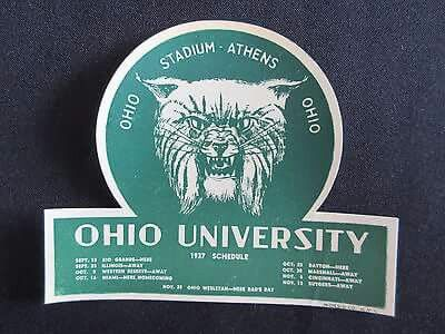 1937 football schedule decal. Scheduled Opponents Include Illinois, Miami of Ohio (Homecoming), Dayton, Marshall, Cincinnati, Rutgers, Rio Grande, Western Reserve, and Ohio Wesleyan (Dad's Day).