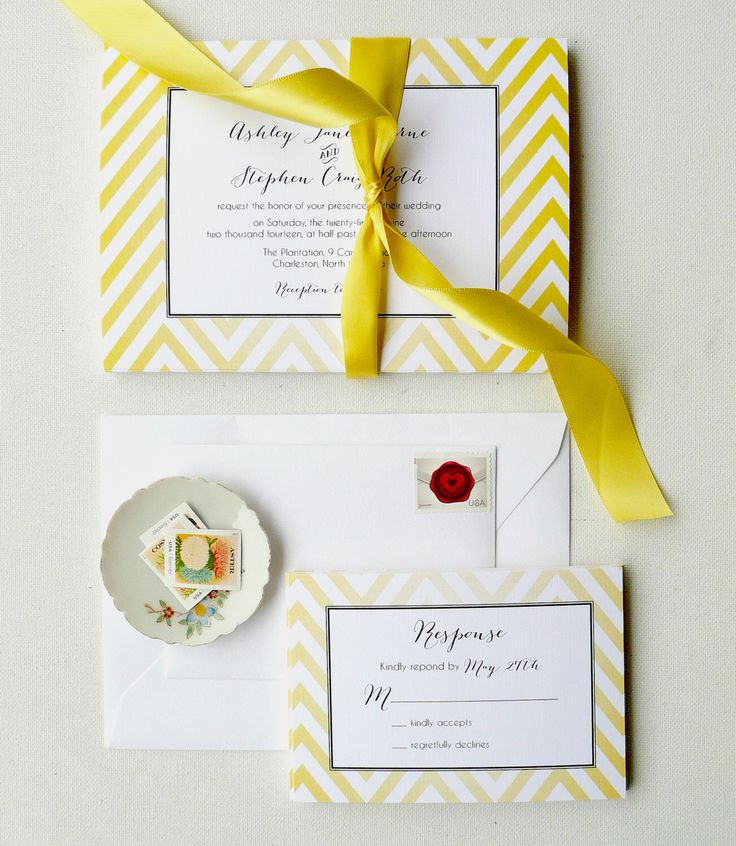 Yellow Wedding Invitations, Chevron Invites, Yellow and Black Invites - Lemon Chevron Invitation Sample, Featured on Country Living by PinkOrchidInvites on Etsy https://www.etsy.com/listing/129153004/yellow-wedding-invitations-chevron