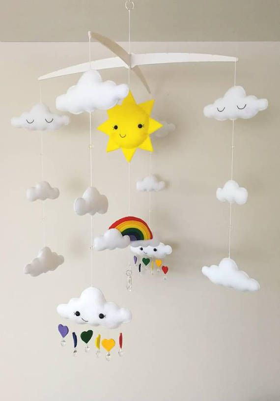 1a41f5fa7d2 Rainbow Baby Mobile - Rainbow felt Mobile - Crystal Mobile - Nursey  Decoration - Cloud and