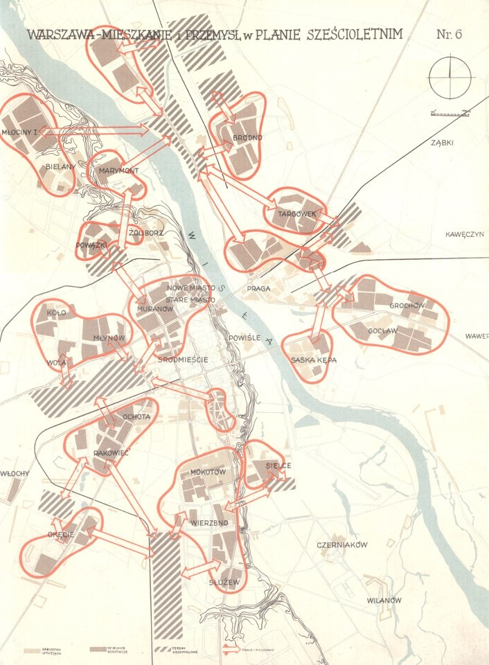 archival six-year plan for Warsaw (location of residential & industrial zones)