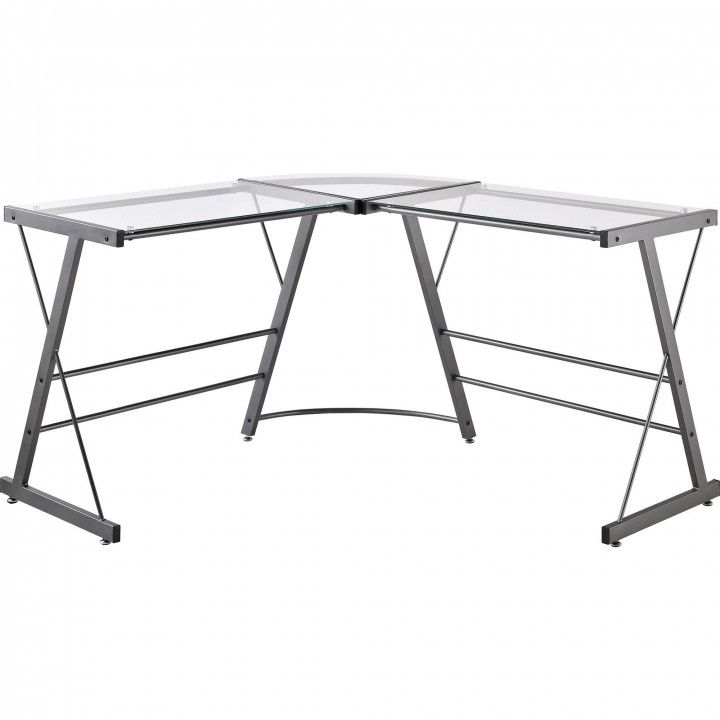 L Shaped Glass Top Computer Desk Diy Corner Desk Ideas
