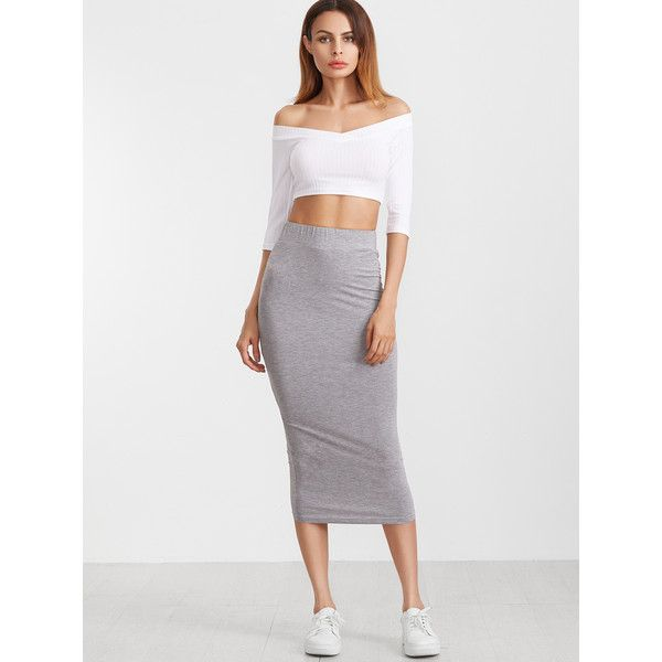 SheIn(sheinside) Elastic Waist Midi Pencil Skirt ($12) ❤ liked on Polyvore featuring skirts, grey skirt, knee length pencil skirt, long midi skirt, midi skirt and long pencil skirt