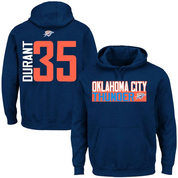 Kevin Durant Oklahoma City Thunder Vertical Name & Number Hoodie – Navy Blue - $48.44