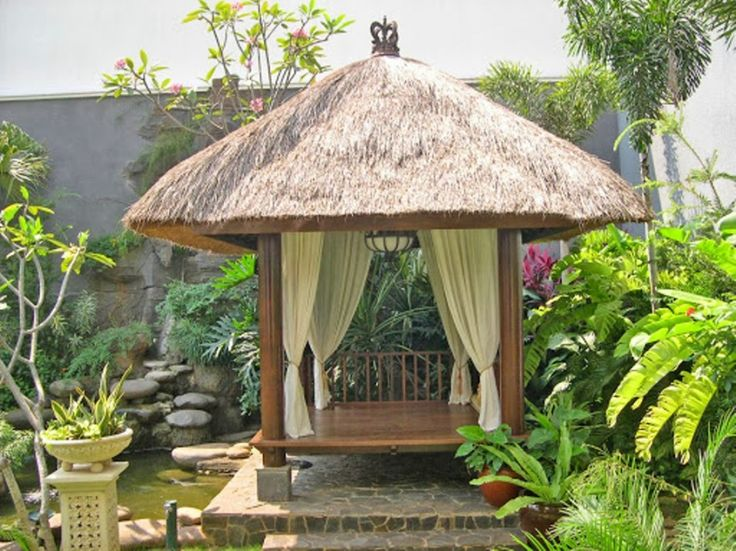 Amazing Great And Cool Gazebo Poles Rustic Outdoor With Natural Top Cover Teak Wood
