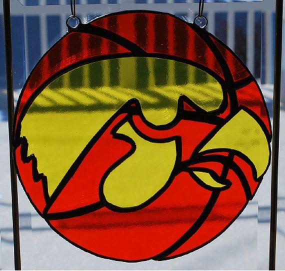 Handmade stained glass NCAA Iowa Hawkeye Basketball by ManemannArt, $35.00