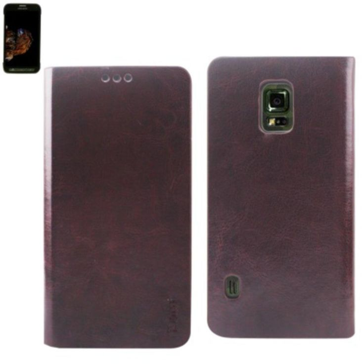 Reiko Flip Case With Card Holder For Samsung Galaxy S5 Active Sm-G870 Brown