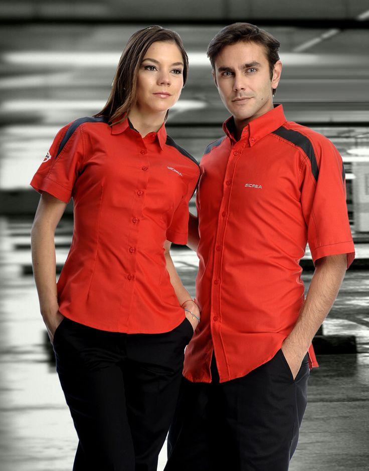 Uniforme de promotor de vehículos en dos piezas en color rojo y negro mixto http://www.creacionesred.com.mx/